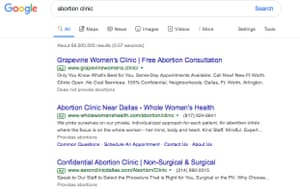 Loophole means that only users who are specifically searching under the term 'abortion' will be provided information on whether a particular health care clinic does – or does not – offer the procedure to women