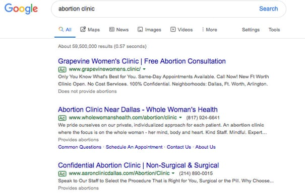 Google loophole allows anti-abortion clinics to post