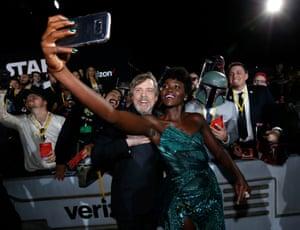 Mark Hamill and Lupita Nyong'o pose for a selfie