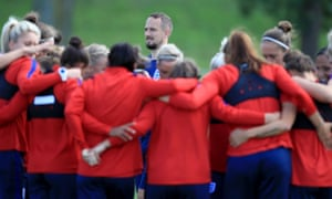 Mark Sampson oversees a training session with England's women at their training base in Utrecht. They need a point against Portugal on Thursday to guarantee qualification.