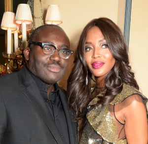 Edward Enninful, the new editor of British Vogue, with Naomi Campbell.