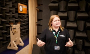 BBC Archers tour guide Holly Beaumont-Wilkes in the anechoic room where – RIP – Nigel Pargetter's death was recorded