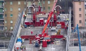 Demolition work on Morandi Bridge in February 2019.