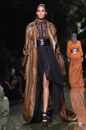 Floorsweeper coat, Balmain catwalk