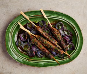 Yotam Ottolenghi's lamb and beef kebabs with sweet-and-sour onion petals.