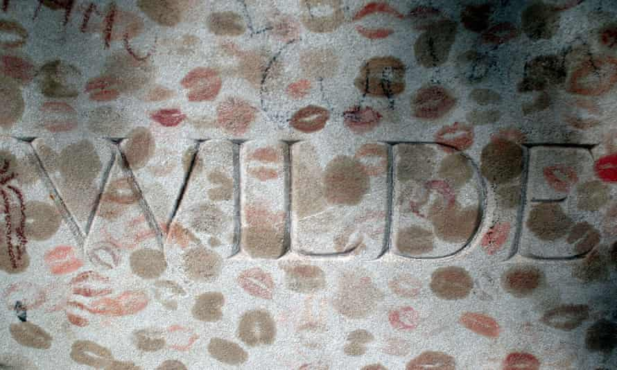 Oscar Wilde's lipstick-covered tomb at Père-Lachaise cemetery in Paris.