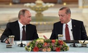 Vladimir Putin and Recep Tayyip Erdogan in October, 2016