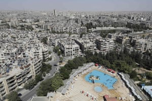 A swimming pool in Aleppo as seen from a high-rise building