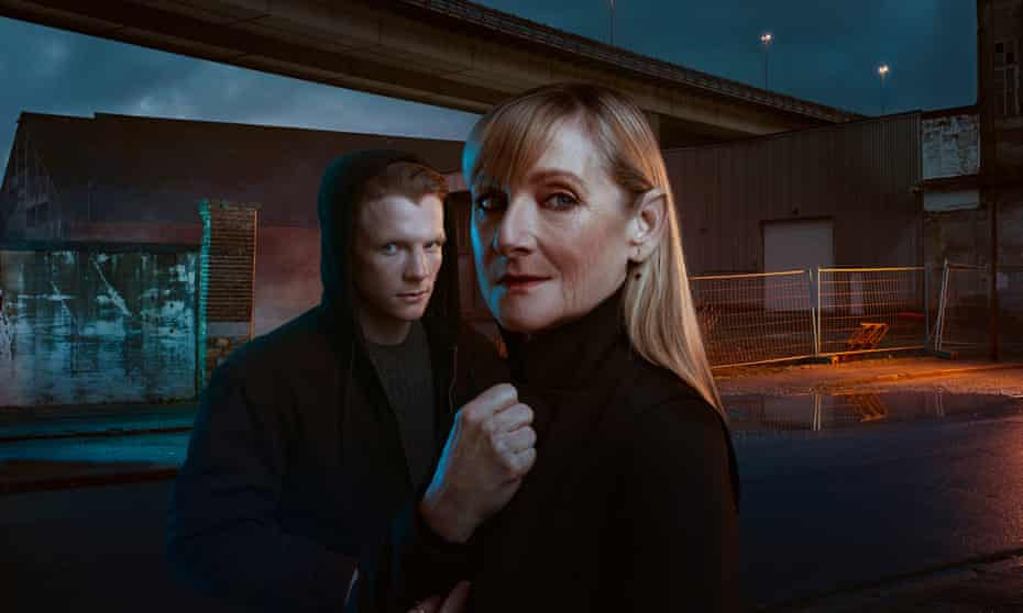 Scandi-ish noir ... Christian (Patrick Gibson) and Hannah (Lesley Sharp).