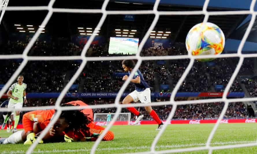 France's Wendie Renard runs off in relief after successful converting her second penalty moments after she dribbled her first attempt wide but was rescued by VAR.