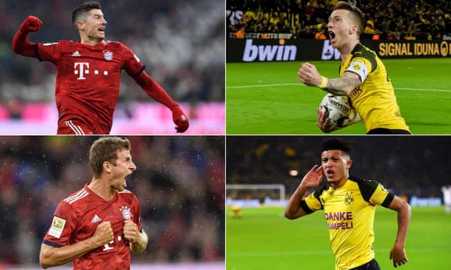 Clockwise from top left: Robert Lewandowski, Marco Reus, Jadon Sancho and Thomas Müller will all play key parts as the Bundesliga starts again.