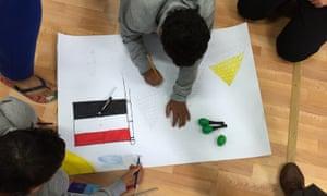 Children at Etnos Cooperativa Reception Centre in Sicily participate in a cultural skills workshop.