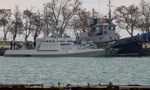 Seized Ukrainian military vessels in a port of Kerch, Crimea.