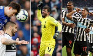 Harry Maguire of Leicester; Alisson of Liverpool; Ayoze Perez of Newcastle