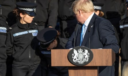 Johnson speaking in West Yorkshire on Thursday; he was criticised for using police cadets for political purposes.