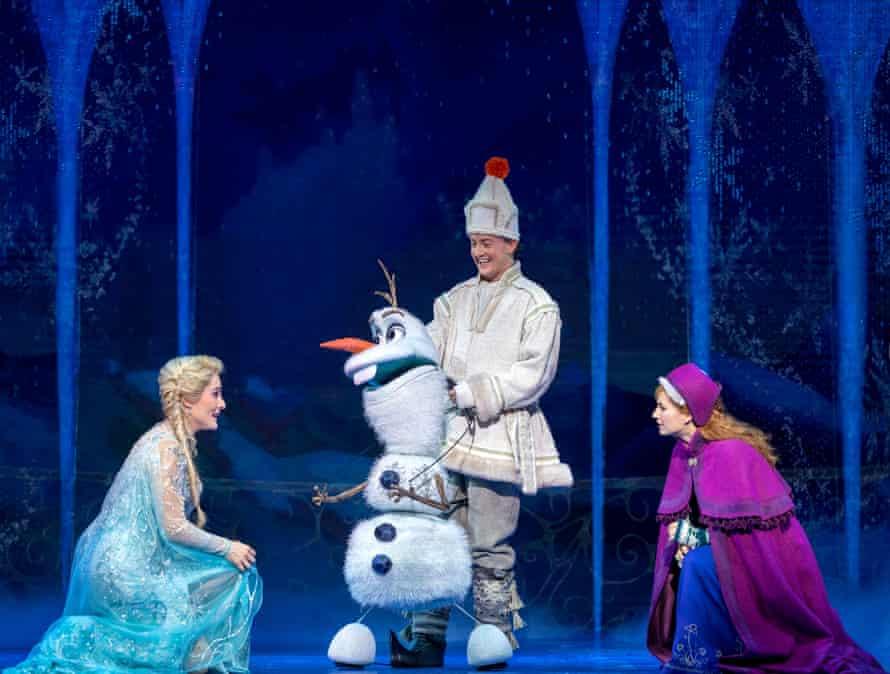 Jemma Rix, Matt Lee and Courtney Monsma as Elsa, Olaf and Anna.