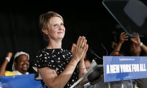 Gubernatorial candidate Cynthia Nixon delivers her concession speech at the Working Families Party primary night party