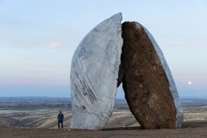 A close-up image of Ensamble Studio's Beartooth Portal, which is 25ft tall and sits amid the rolling hills of Tippet Rise Art Center.