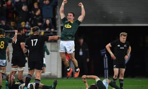 South Africa's Jesse Kriel celebrates South Africa's Rugby Championship win against New Zealand.