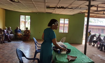 Anthonia Nwaorie at her week-long clinic in a church hall last year in a village in Imo state in Nigeria.