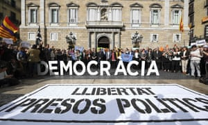 A protest in Barcelona outside the Generalitat, the Catalan regional government