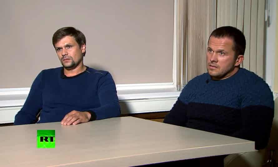 After Theresa May's announcement last month, Vladimir Putin ordered the two Salisbury suspects to appear on television.