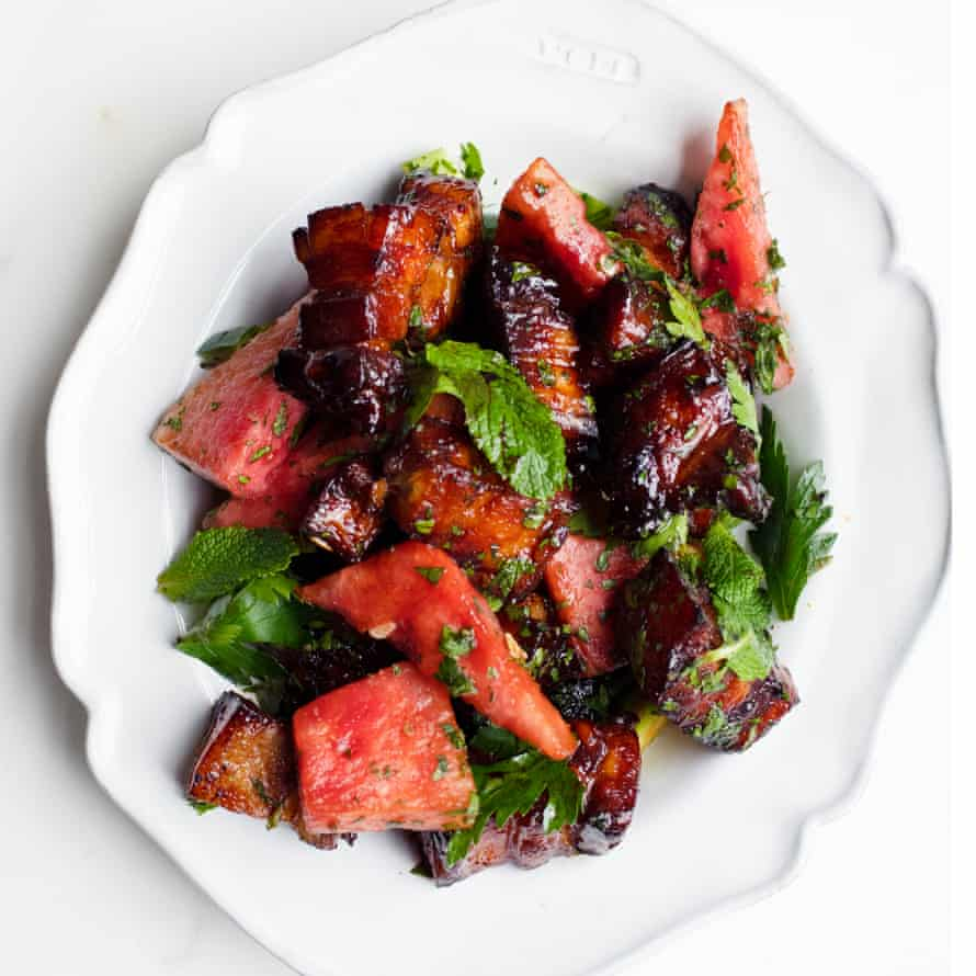 Pork with watermelon and mint.