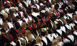 students at a University graduation ceremony.
