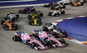 Ocon and Perez clash at the start.