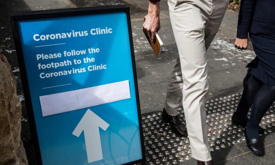 A sign for the coronavirus clinic at Royal Prince Alfred hospital in Sydney