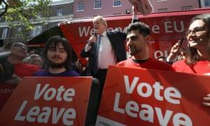 Boris Johnson delivers a speech for the Vote Leave campaign.