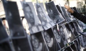 Images of murdered journalists at a protest in Mexico City.