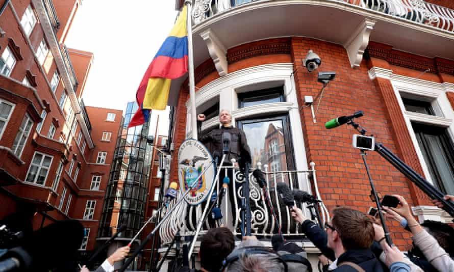 Julian Assange on the balcony of the Ecuadorian embassy in London