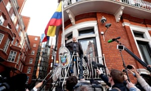 'An unreliable narrator but a reliable narcissist': Julian Assange speaks to the media from the balcony of the Ecuadorian embassy last month