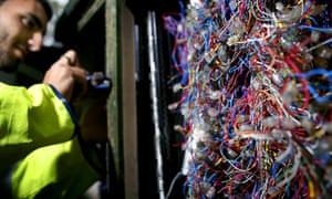BT enigineer fixng phone lines
