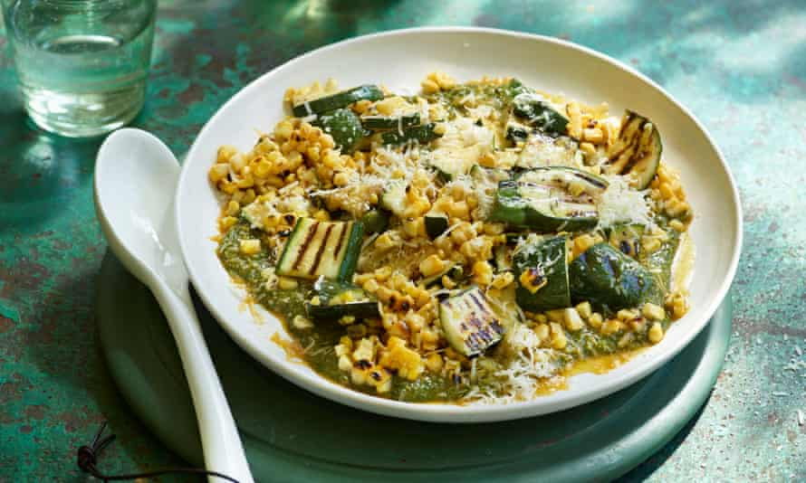 Courgette, sweetcorn and chermoula.