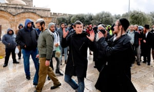 religious Jews enter Haram al-Sharif guarded by israeli security services