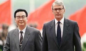 John Major and Li Peng in Tiananmen Square in September 1991