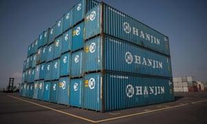 Hanjin Shipping containers