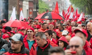 Members of CGSP, Belgium's public sector workers' union, protest in Mons.