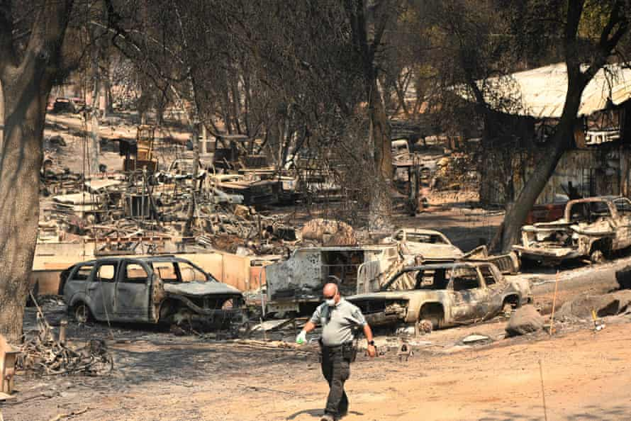 The aftermath of the Cache fire, which burned homes in Lake county.