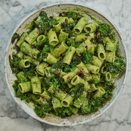 Speedy weeknight pasta with crisp garlicky kale topping.