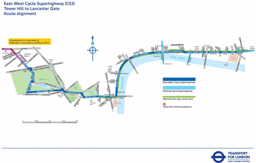 'Contentious': a section of the east-west cycle superhighway.