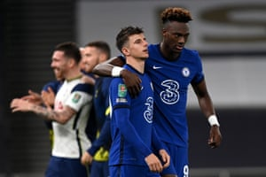 Mason Mount of Chelsea is consoled by Tammy Abraham of Chelsea after he misses a penalty, and Chelsea therefore lose the the Carabao Cup fourth round match.