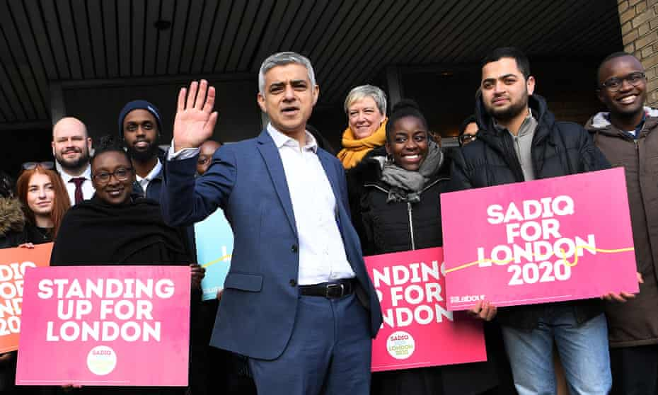 London mayor Sadiq Khan launching his campaign for re-election, March 2020