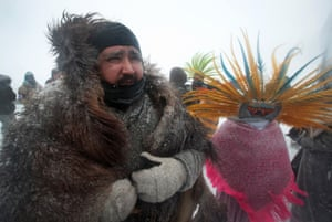 The protesters and 'water protectors' have been facing tough weather conditions.