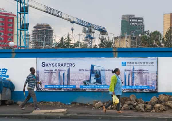 A construction site in Addis Ababa for a joint Chinese-Ethiopian development.