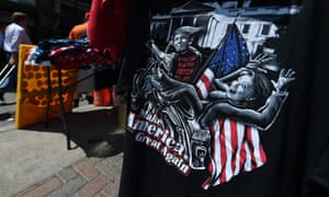 A T-shirt featuring Hillary Clinton and Donald Trump is seen on the third day of the Republican national convention in Cleveland.