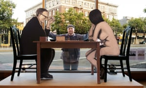 Marcel Duchamp's nude chess game recreated at Robert Berman gallery.