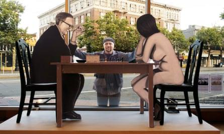 Marcel Duchamp's nude chess game recreated at Robert Berman gallery.